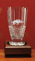 KRYSTOF CRYSTAL BUCKINGHAM LARGE FOOTED VASE 10 IN H