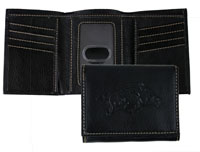Black Contrast Stitch Trifold Wallet