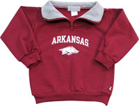 ARCHED ARKANSAS OVER HOG QUARTER ZIP FLEECE