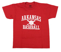 YOUTH ARKANSAS BASEBALL CROSSED BATS CARD TEE