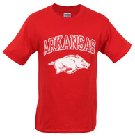 ARKANSAS OVER HOG HAZE PRINT TRUE RED TEE