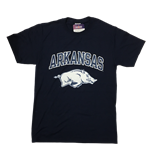 ARKANSAS OVER HOG HAZE PRINT HEATHER NAVY TEE