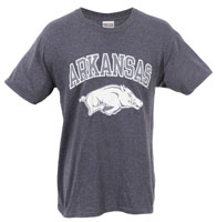 ARKANSAS OVER HOG HAZE PRINT HEATHER BLUE VINTAGE TEE