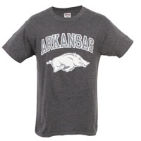 ARKANSAS OVER HOG HAZE PRINT BLACK HEATHER TEE