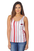 VERTICAL CARD STRIPE PRINT WHITE TANK HOG LC