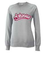 WOMENS ARCHED ARKANSAS IN CURSIVE OXFORD HOOD