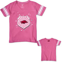 GIRLS SHIELD WITH HOG PINK TEE STRIPED SLEEVES