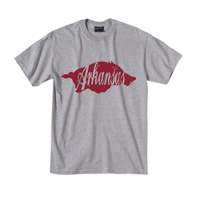 ARKANSAS INSIDE HOG GRAY HEATHER SS TEE