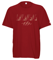 ARKANSAS OVER HOG LINED LETTERS LS CARD TEE