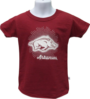 GIRLS STAR BURST WHITE HOG ARKANSAS CARD TEE