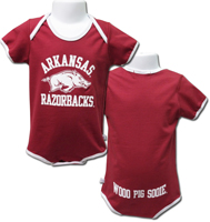 ARKANSAS OVER HOG OVER RAZORBACKS IN WHITE CARD DIAPER SHIRT ONESIE