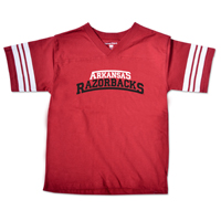 YOUTH ARCHED ARKANSAS RAZORBACKS CARD FOOTBALL SS TEE