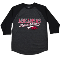 YOUTH ARKANSAS RAZORBACKS WITH TAIL HOG BLACK RAGLAN TEE