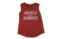 ARKANSAS RAZORBACKS ALEXANDRA CARD SLEEVELESS T-SHIRT
