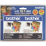BROTHER LC51 BLACK INK 2PK