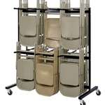 2TIER FOLDING CHAIR CART BLK