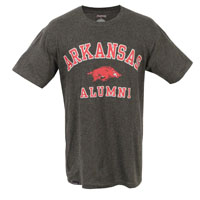 ARKANSAS OVER HOG OVER ALUMNI CHARCOAL TEE