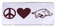 Silver License Plate Peace Love Hog Cardinal