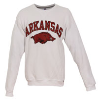 Men's Fleece Crew White Arkansas/Hogs