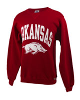 Men's Fleece Crew Cardinal Screen Vertical Arkansas