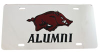 Alumni Silver Mirror License Plate Red Hog