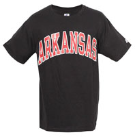 Black Tee Cardinal Arkansas White Ouline
