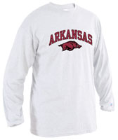 Men's Long Sleeve T-Shirt White Vertical Arch Arkansas