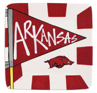 SMALL SQUARE PLATE WITH ARKANSAS PENNANT