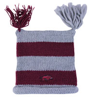 STRIPED BEANIE WITH TASSELS SQUARE TOP