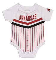 INFANT CURVE BALL WHITE ONESIE BASEBALL ON BACK