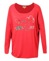 WOOO PIG SOOIE PIKO SCOOP NECK DARK RED LS TEE