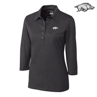 WOMENS CHARCOAL HEATHER QUARTER SLEEVE CHELAN POLO