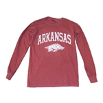 COMFORT COLORS ARKANSAS OV HOG LS CARDINAL TEE