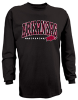 ARKANSAS RAZORBACKS HOG BLACK LS TEE