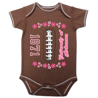 INFANT GIRLS FLOWER FOOTBALL ONESIE BODYSUIT