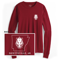 FORWARD FACING HOG STATE FAYETTEVILLE AR CARD LS T-SHIRT