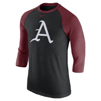 BASEBALL A BLACK HEATHER AND CARD RAGLAN T-SHIRT