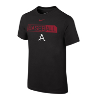 YOUTH BASEBALL A ALL HIGHLIGHTED BLACK SS T-SHIRT