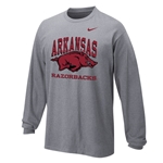YOUTH ARKANSAS HOG RAZORBACKS DARK HEATHER LS T-SHIRT