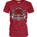 WOMENS CWS CROSSED BATS ARKANSAS RAZORBACKS CARD T-SHIRT