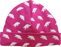NEWBORN FUSIA PINK BEANIE ALL OVER HOGS