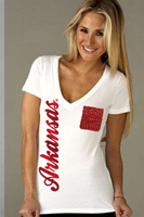 ARKANSAS V NECK WHITE BURNOUT TEE WITH POCKET